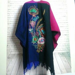 Beautiful beaded color block long fringe poncho